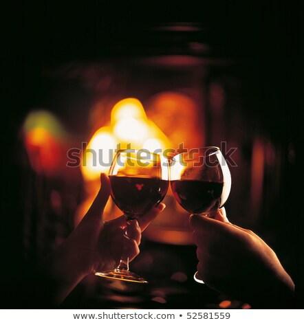Meghitt vacsora otthon étel kettő szemüveg Stock fotó © Hofmeester