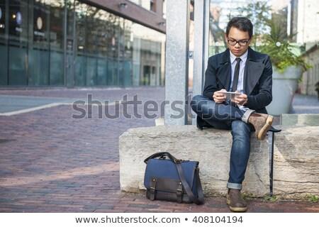 groep · zakenlieden · praten · buiten · kantoorgebouw · moderne - stockfoto © photography33
