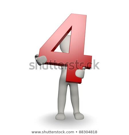 Stockfoto: Karakter · aantal · vier · 3d · render