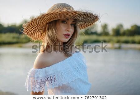 mosolyog · topless · barna · hajú · hosszú · haj · víz · áll - stock fotó © dolgachov
