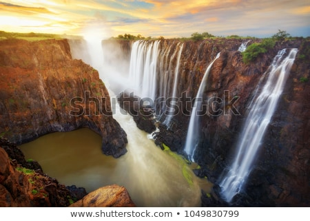 川 · 煙 · 滝 · アフリカ · 国境 - ストックフォト © ajlber