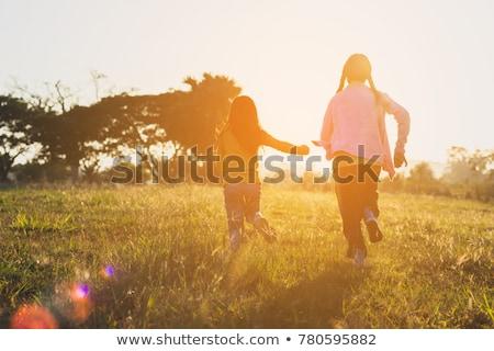два · играет · девушки · ребенка · мяча - Сток-фото © phbcz