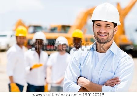 autentikus · építőmunkás · jóképű · barátságos · állás · helyszín - stock fotó © lisafx
