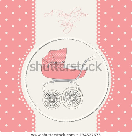 new baby girl announcement card with pram stock photo © balasoiu