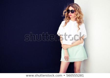 Csinos szőke nő fehér blúz nő arc divat Stock fotó © photography33