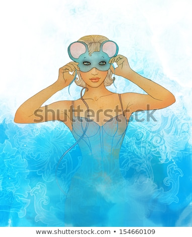 beautiful blonde woman in mouse masquerade costume stock photo © pilgrimego