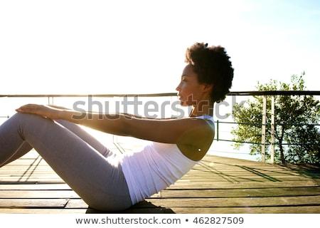 nő · jóga · tengerpart · sportok · portré · fiatal - stock fotó © juniart