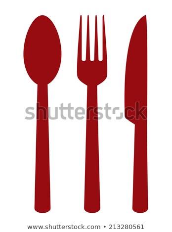Régime alimentaire panneau routier métal fourche couteau rouge Photo stock © donskarpo