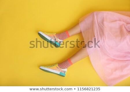 Сток-фото: женщину · ног · желтый · обувь · изолированный · белый