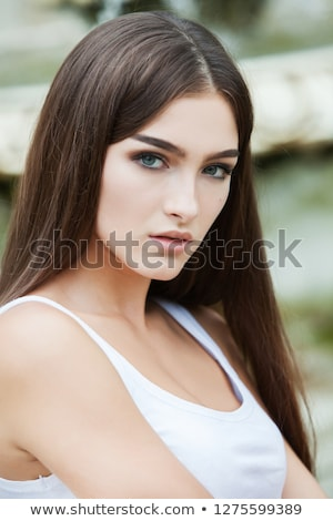 closeup portrait of beautiful young blonde isolated stock photo © acidgrey