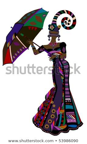 carnaval · casal · traje · silhuetas · homem · mulher - foto stock © BasheeraDesigns