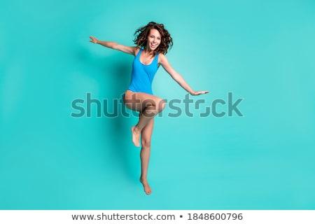 Schönen jungen Brünette Mädchen tragen Badeanzug Stock foto © HASLOO