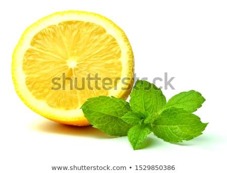 narancs · rész · menta · levél · fehér · gyümölcs - stock fotó © tetkoren