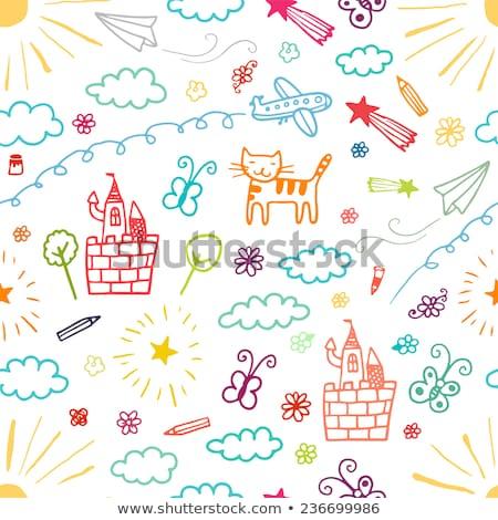papírzsebkendő · papír · csíny · illusztráció · gyerekek · játszanak · gyerekek - stock fotó © lenm