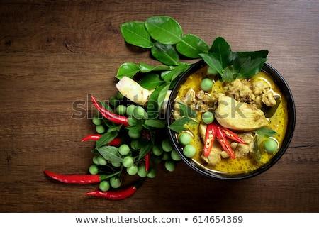 thai · étel · hozzávalók · kész · főzés · lila · bazsalikom - stock fotó © hofmeester