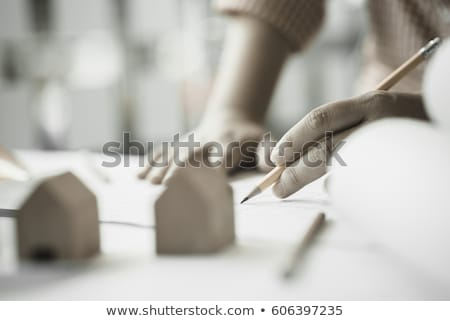 architectural · dessin · objets · notepad · plan - photo stock © juniart
