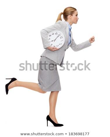 деловая · женщина · стены · часы · фотография · привлекательный · женщину - Сток-фото © dolgachov