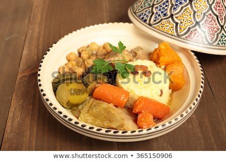 Kuskus et sebze yemek sosis Stok fotoğraf © M-studio