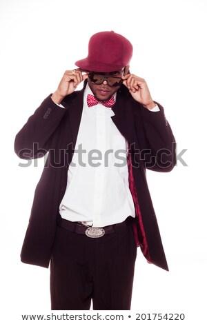 Trendi fiatalember sapka csokornyakkendő elegáns összeillő Stock fotó © stryjek