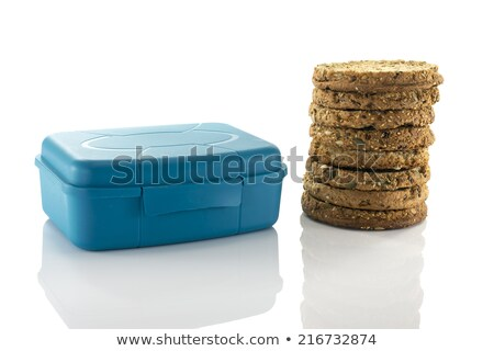 青 · 弁当箱 · パン · リンゴ · ガラス · ドリンク - ストックフォト © compuinfoto