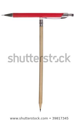 T betű irodaszerek izolált fehér üzlet papír Stock fotó © gemenacom