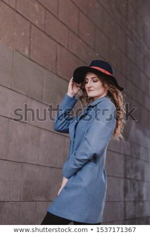 Kadın kıvırcık saçlı Retro kürk şapka Stok fotoğraf © feelphotoart