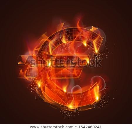 ストックフォト: 赤 · 抽象的な · ユーロ · にログイン · 影 · 白