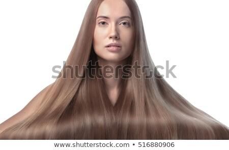 beautiful high key girl with long hair Stock photo © fotoduki