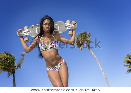 fiatal · afroamerikai · nő · bikini · tart · gördeszka · mögött - stock fotó © BrazilPhoto