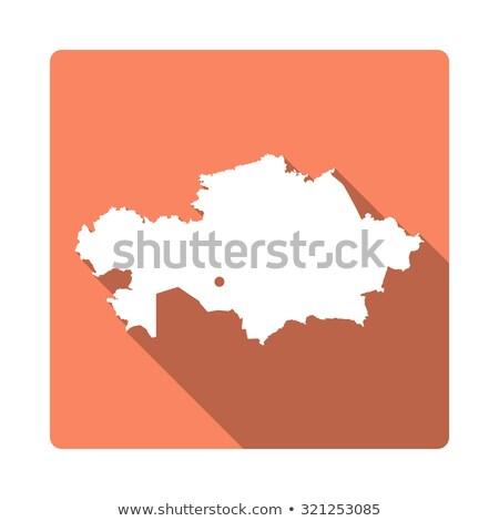 оранжевый кнопки изображение карт Казахстан форме Сток-фото © mayboro