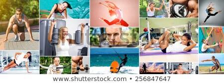 Weight training photo collage Stock photo © stokkete
