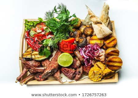 mixed grill steak with corn and bread stock photo © phila54