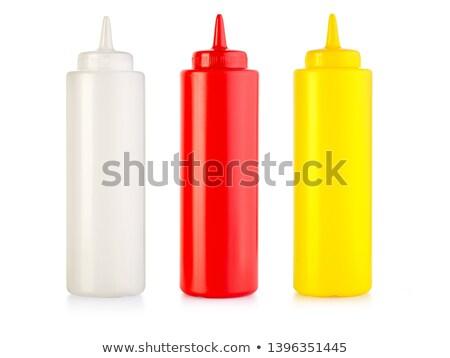 Rood witte plastic sjabloon fles ketchup Stockfoto © orensila