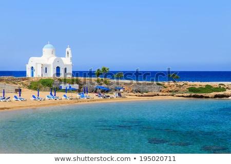 Branco capela Chipre céu paisagem atravessar Foto stock © Kirill_M