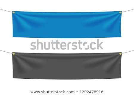 пусто синий текстильной баннер белый 3d иллюстрации Сток-фото © cherezoff