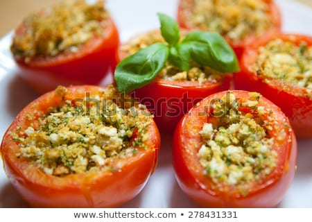 Cuscús relleno tomate vegetariano aperitivo hojas Foto stock © Digifoodstock