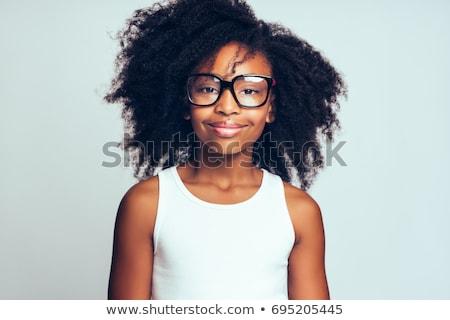 Stockfoto: Portret · jong · meisje · afro · modieus · jonge · afro-amerikaanse