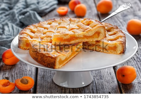 Sárgabarack torta kicsi gyümölcs tányér reggeli Stock fotó © Digifoodstock