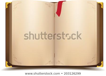 Otwarta księga czerwony dodaj do ulubionych odizolowany biały Zdjęcia stock © orensila
