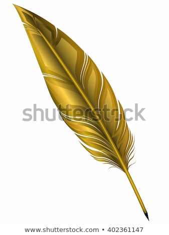 Ink pen with golden feather Stock photo © alrisha