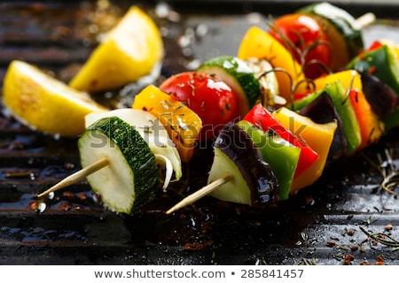 Zöldség nyárs darabok friss zöldségek fából készült étel Stock fotó © Digifoodstock