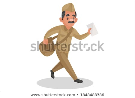 A drawing of a happy postman Stock photo © bluering