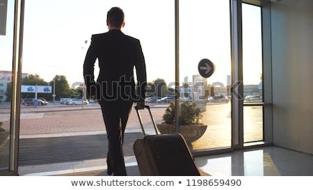Hombre de negocios equipaje aeropuerto hombre arte Foto stock © zurijeta