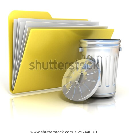 открытых стали мусорное ведро папке икона 3D Сток-фото © djmilic