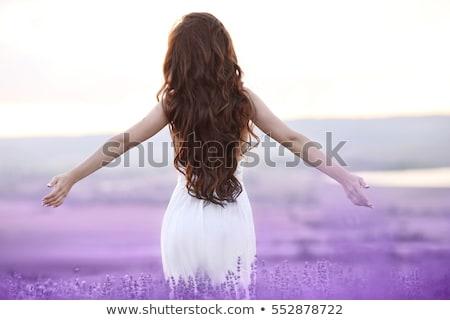 Szabad barna hajú nő nyitva karok élvezi Stock fotó © Victoria_Andreas