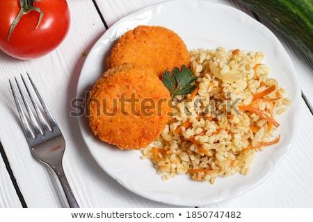 domates · et · arpa · tahıl · tavuk · yeme - stok fotoğraf © m-studio