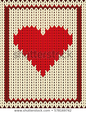 Knitted poker card hearts, vector illustration Stock photo © carodi