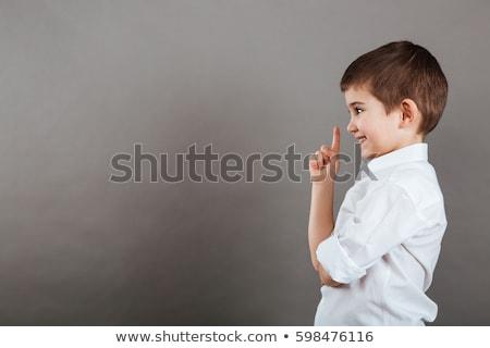 gündelik · serin · adam · işaret · uzak · genç - stok fotoğraf © deandrobot