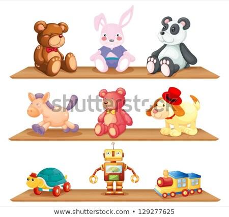 商业照片 / 矢量图: 不同 · 玩具 · 木 · 货架 · 插图 · 背景