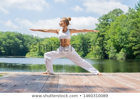 fiatal · nő · gyakorol · jóga · folyó · nő · lány - stock fotó © master1305